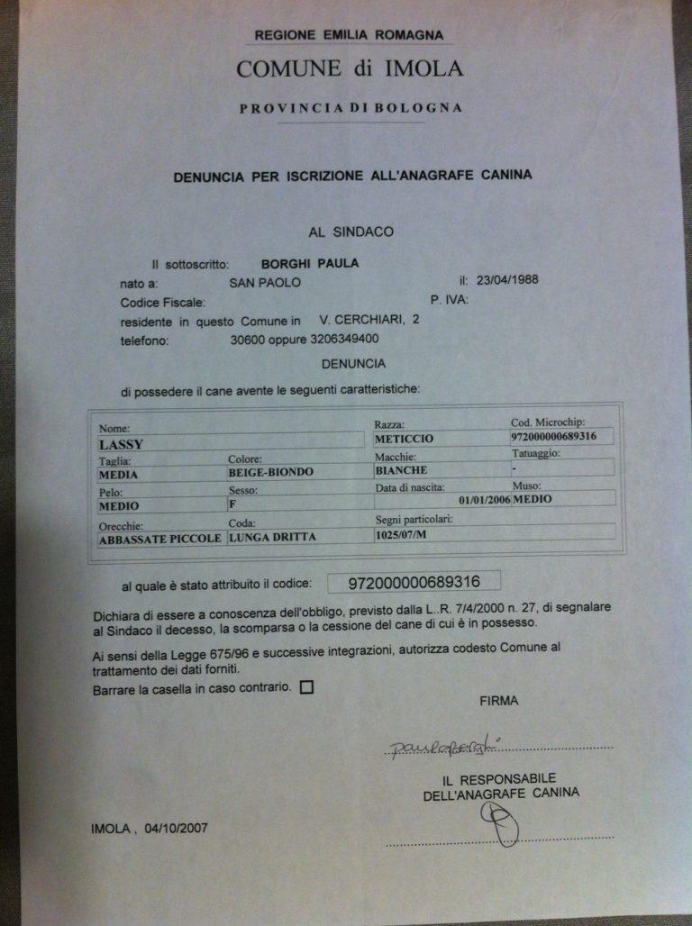 Documento de inscrição da Lassie na prefeitura de Imola sob meus cuidados.